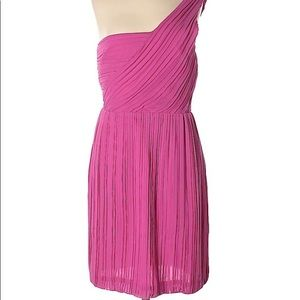 Theory Silk one shoulder mini dress size 0 pink